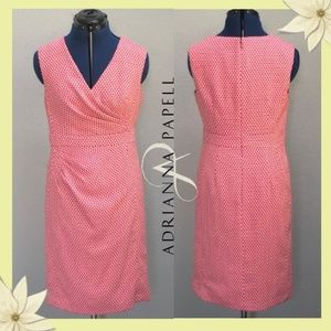 Adrianna Papell Pink / White Hexagon Pattern Dress